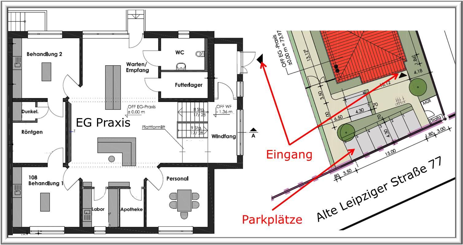 Einblicke in die zukünftige Praxis (links: Erdgeschoss, rechts: Außenanlagen)