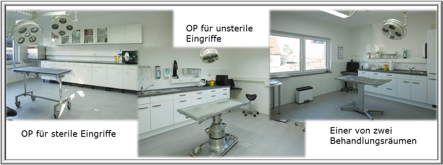 OP's für sterile und unsterile Eingriffe sowie zwei Behandlungsräume