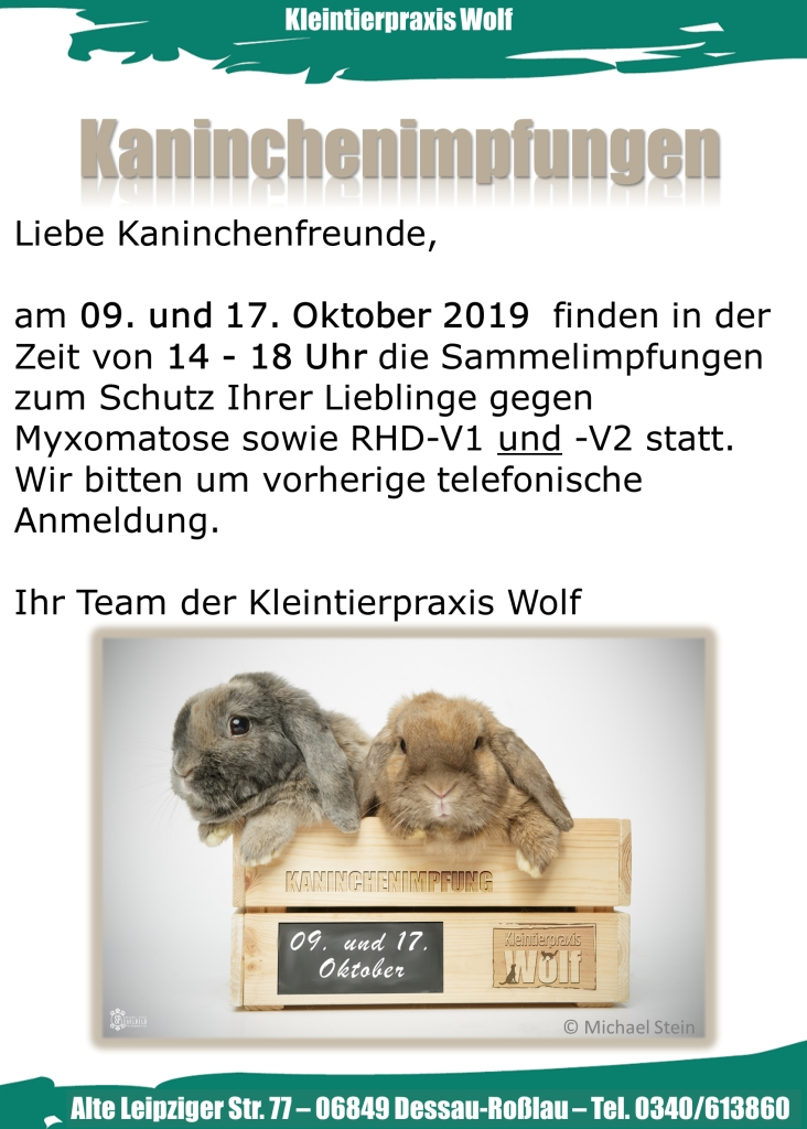 Kaninchenimpfung am 09. und 17.10.19